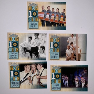 """5 Loose The Beach Boys """"Top 10 Hits"""" Trading Cards, Panini 2013."""