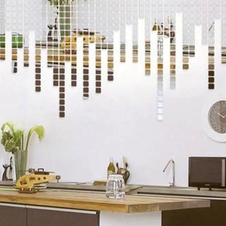 100 Pcs/set 2*2CM Acrylic Mirrored Decorative Sticker Wall Art DIY Decoration Mirror Wall Stickers