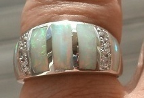 ENCHANTING STERLING SILVER WHITE FIRE OPAL & WHITE SHINING TOPAZ RING SZ 7 FREE SHIP! FREE GIFT!