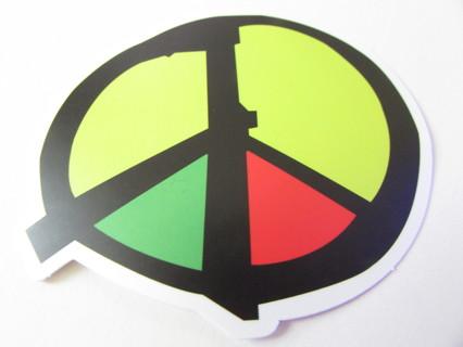 RASTA PEACE SIGN Vinyl Sticker- Helmet/Car/Skateboard/Business/Crafts