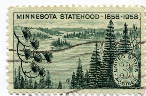 Free 1958 US Postage 3 Cent Stamp Minnesota Statehood