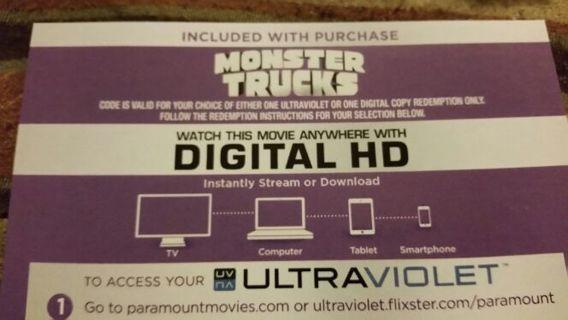 Digital Copy of Monster Trucks Blue Ray