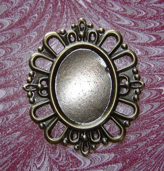 42x38mm Fancy Edge Frame Cameo Setting Oxid Bronze Stamping Fit's 25x18mm Oval