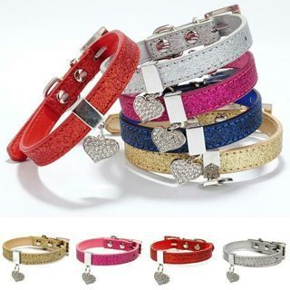 Bling Heart Adjustable PU Leather Pet Dog Puppy Rhinestone Necklace Cat Collars