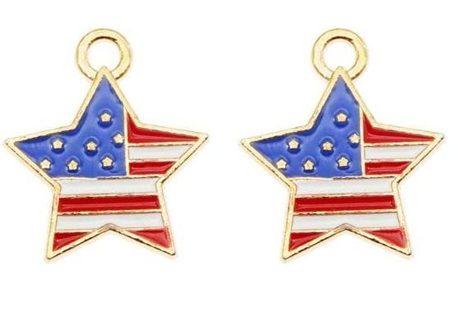 10pcs USA Flag Star Charms Lot C8 (PLEASE READ DESCRIPTION)