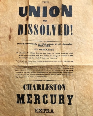 Newspaper Broadside 1860 THE UNION IS DISSOLVED