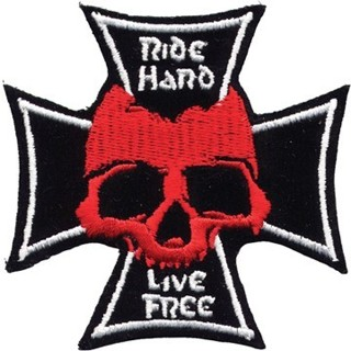 "IRON On Patch "" Ride Hard , Live Free"" Iron Cross Skull Patch Red Skull Biker motoclub FREE SHIPPING"