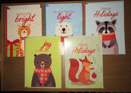 5 NEW Christmas Cards w/ Envelopes ~ NEW from Humane Society ~Cute Animals