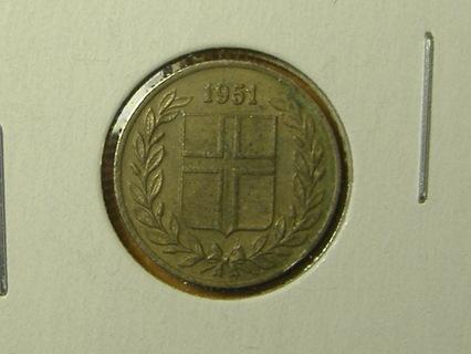 1951 Iceland 25 Aurar coin world