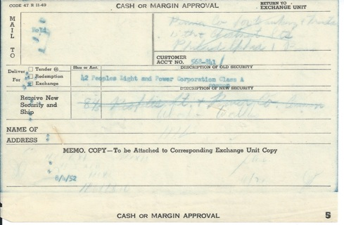Stock Cash or Margin Approval 1952 for Peoples Light & Power Corp. Class A shares