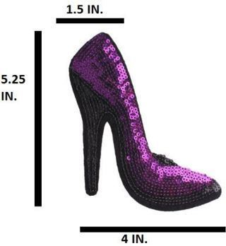 NEW Purple Sequin Glitter High Heels Shoe IRON ON PATCH Sequin Adhesive Patch FREE SHIPPING