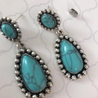 Blue Turquoise Dangling Earrings .