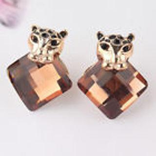 NEW Leopard Topaz Stud Earring
