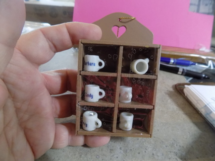 Wooden miniture shelf ornament with 6 tiny mini ceramic cups