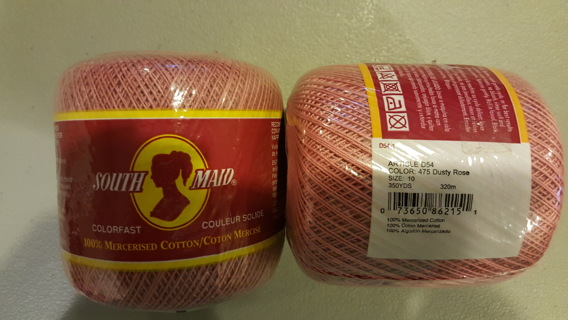Free New South Maid Crochet Thread Dusty Rose 2 Skeins