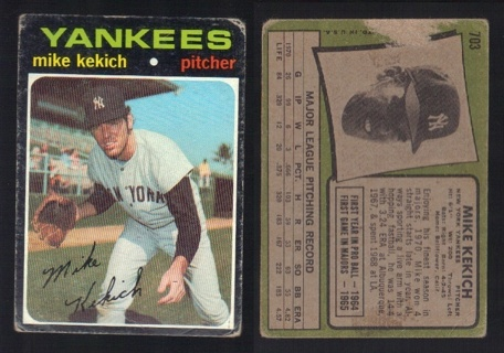 1971 Topps Mike Kekich #703 high number - Fair Condition - New York Yankees