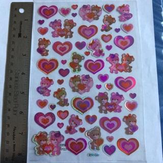 ♪❥♪ Valentines Love Teddy Bears Shiny Large Sticker Sheet BRAND NEW 1/2 Epoxy ♪❥♪