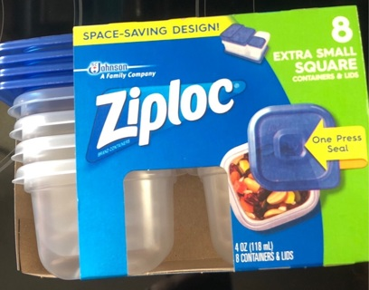 Ziploc Set of 8 Extra Small Square Containers With Lids, New