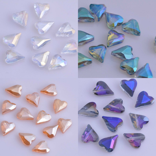 20PCs 12mm Heart Faceted Crystal Glass Spacer Loose Beads Charm Crafts Finding