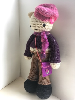 Sue loves her cat hat. Crochet doll wearing a grey cat hat ... | 426x320