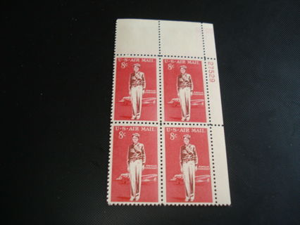 #C68 US Stamps, Plate Block of 4 - US AIRMAIL - AMELIA EARHART - Issued 1963