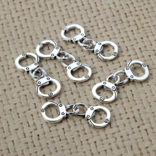 20PC Cute Mini Handcuffs Charm Pendant Tibetan Silver Beads DIY Jewelry Finding