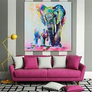 Modern Abstract Huge Wall Art Oil Painting On Canvas-Elephant (No Frame)