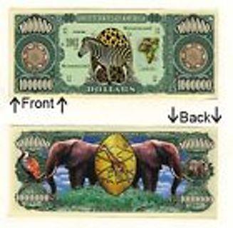 Wild Animal Zebra Rhioncerous girraff Safari Novelty Dollar Mint In Protective Bill Display Case