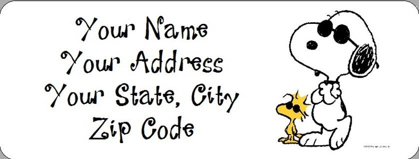 Snoopy Woodstock Joe Cool Return Address Labels 30 Ct