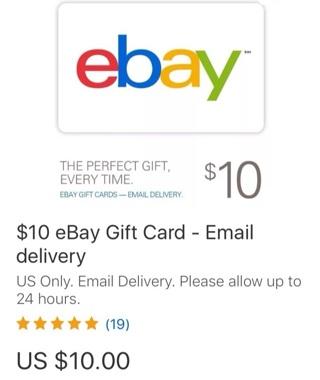 $10 eBay Gift Card - Digital Delivery