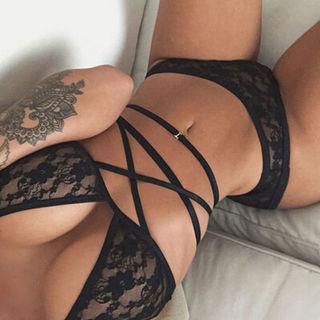 Women's Sexy-Lingerie Nightwear Underwear Babydoll Bandage Lace Bra G-string Set