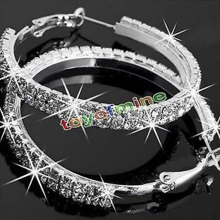 Brilliant Jewelry 14k White Gold Lady Rhinestone Crystal Fashion Hoop Earrings