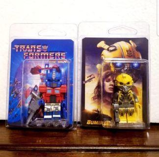 2pcs= TRANSFORMERS MOVIE> optimis prime & bumblebee> lego style mini figures w/customized packaging