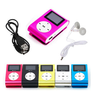 One Set USB Mini Clip MP3 Player LCD Screen Support 32GB Micro SD TF Card Radio