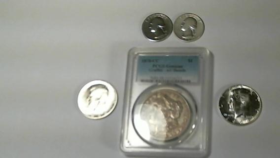 1878-CC AU Details PCGS MS 98 -  1932 D&S Washinton Quarters Two 1964-D Gem BU Kennedy Half Dollars