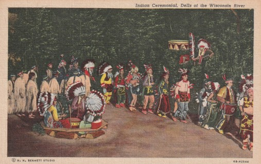 Vintage Used Postcard: 1951 Indian Ceremonial, Dell of the Wisconsin River, WI