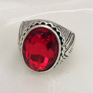 ♥‿♥ CB ♥‿♥ Hot Vintage woman 316L Stainless Steel Vogue Design Mini red Stone Ring Size 9