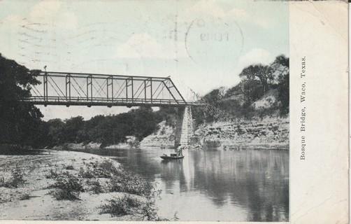 Vintage Used Postcard: 1908 Bosque Bridge, Waco, Texas