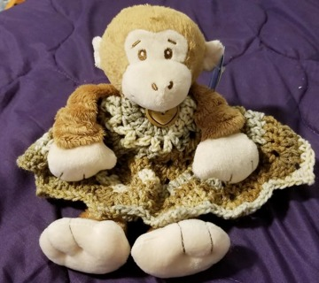 "Baby Security Cuddle Blankie 9"" Monkey & a 12"" diam Crochet Blanket"
