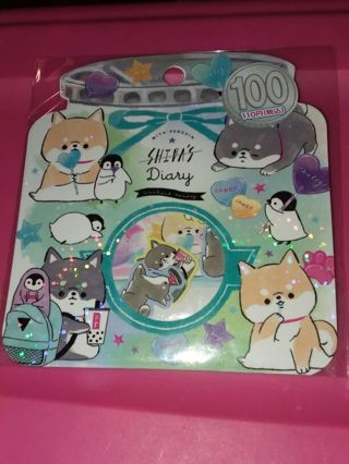 2021 Kamio Japan Shiba's Diary BNIP Kawaii sticker flake sack