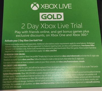 2 Day Xbox Live Gold Trial CODE