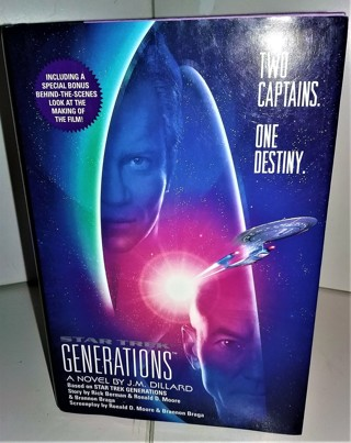 """1994 """"Star Trek GENERATIONS"""" by J.M. Dillard - 280 pages - large print - 8 pages of color photos"""