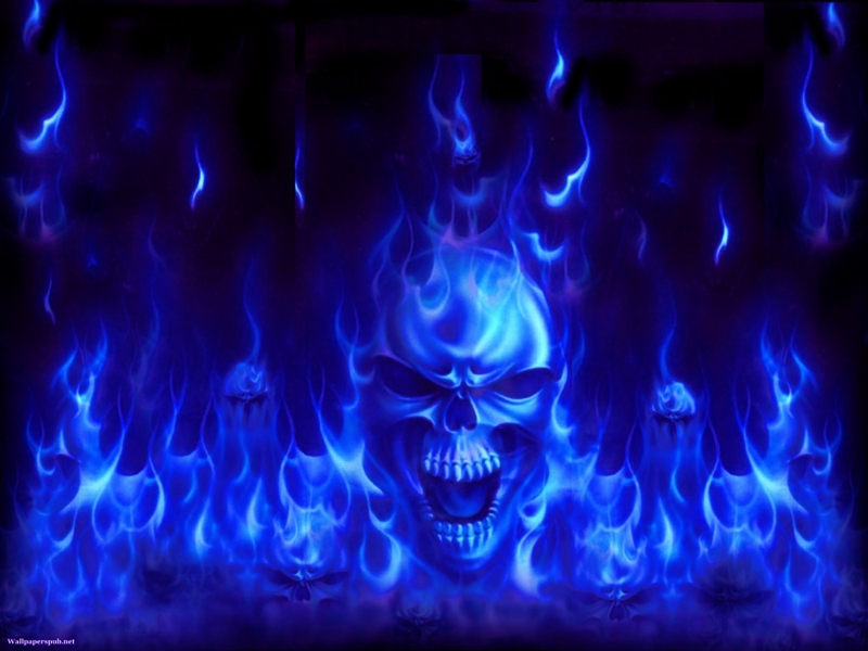 blue flames skull flame - photo #9