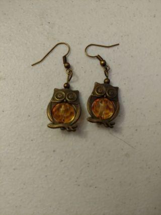 Copper Owl Pierced Earrings