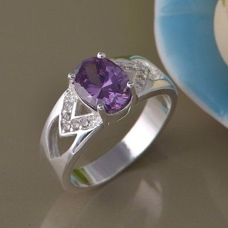 Classy Noble Amethyst Ring with white sapphires