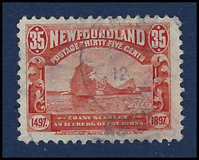 1897 Newfoundland Cabot Issue, 'Iceburg off St. John's coast', Scott #73 used VF, CV $88.85