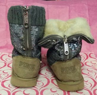 Free Victoria S Secret Quot Pink Quot Silver Fur Boots Ugg Style