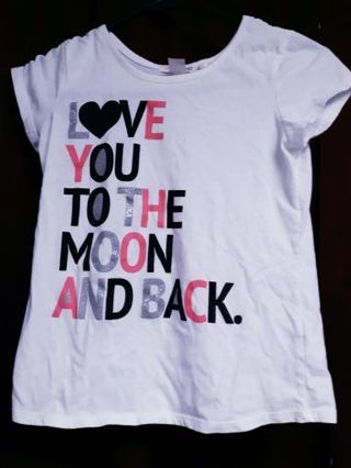 I Love You To The Moon And Back Shirt Girls Size Large 10-12