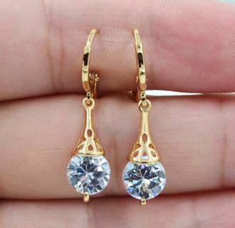 18K White Gold Filled Round White Topaz Zircon Women Earrings Jewelry Wedding