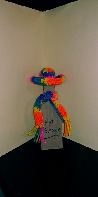 Crichet Hat & Scsrf for Hot Sauce Bottle (B-7545) Bikini